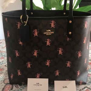 Coach Reversible City Tote Party Mouse
